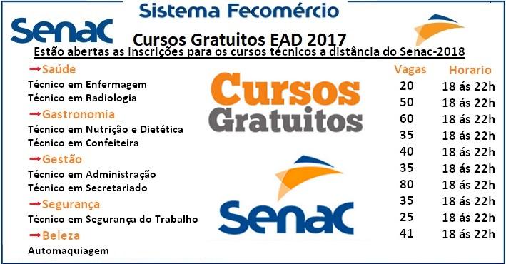 Estão abertas as inscrições para os cursos técnicos gratuitos do Senac -2018
