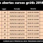 Abertas as inscrições para os cursos Grátis Senac – 2018  -Programa Senac de Gratuidade