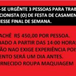 CONTRATA-SE 3 PESSOAS PARA TRABALHAR EM RECEPÇÃO DE CASAMENTO