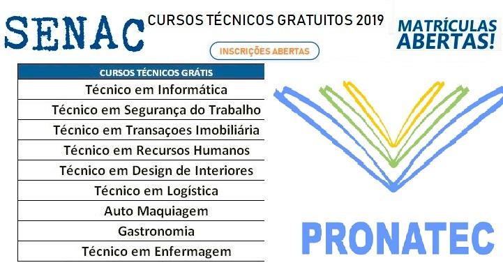 Inscrições abertas para Cursos técnicos do Senac EAD no Pronatec